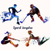Collection of sporty silhouettes from colorful spots doing fitness and sport games - 188672321