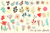 Collection of vector cute florals in rustic simple style. Great for fabric designs - 188672541