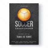 Golden soccer ball, soccer championship flyer or poster design. - 188673926