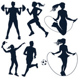 Set of vector detailed sport people silhouettes - 188674771