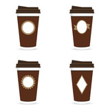 coffee paper glass brown set with icon on it illustration