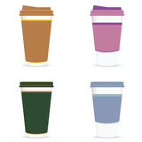 coffee paper glass colored set illustration