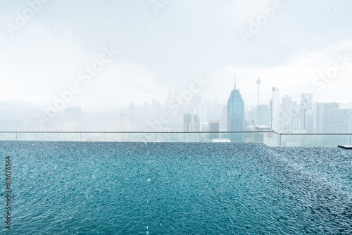In de dag Kuala Lumpur City skyline from a rooftop in indonesia. Kuala Lumpur
