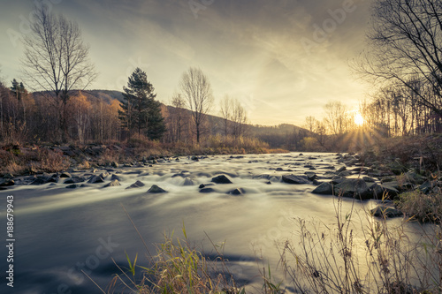 Foto Murales Mountain river Morávka, Czech Republic, Beskydy, Raškovice