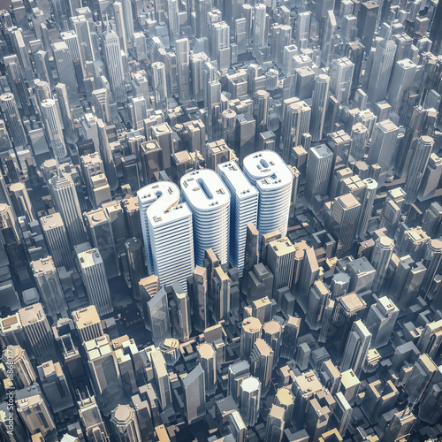 2019 office tower concept / 3D illustration of year 2019 shaped building in downtown modern city