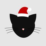 Santa cat head icon