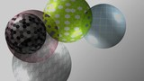 Transparent colored balls rotating and moving inside screen