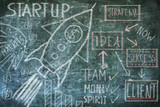 drawing Startup and innovation concept on chalkboard, free copy space