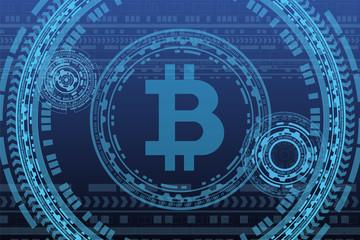 technology bitcoin concept blue