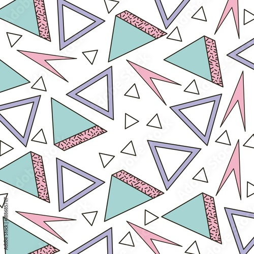 memphis style pattern triangle geometric shape vector illustration - 188685707