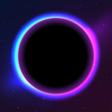Space themed background with dark orb and glowing edges - 188685922