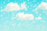 metaphysical cloudy turquoise sky with white soft clouds