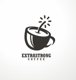 Creative logo design idea for extra strong coffee with coffee cup made as bomb or dynamite.