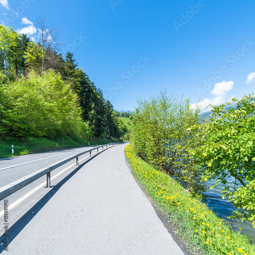 Summer landscape. Journey. Summer landscape. Journey on the road in the mountains. Alps in Switzerland.