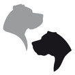 Great Dane Head Logo - Vector black dog silhouette set isolated