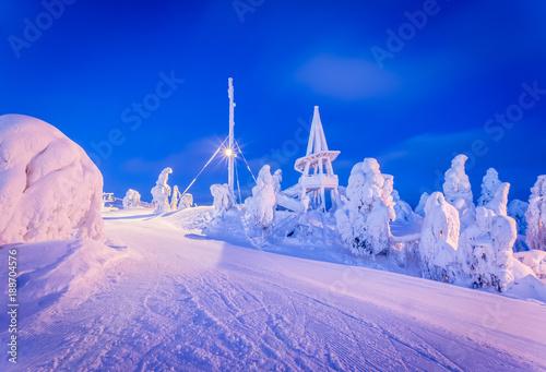 Foto op Canvas Donkerblauw Heavy snow landsscape from Vuokatti ski resort. Sotkamo, Finland.