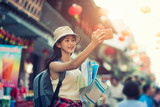 Beautiful woman traveler holding location map in hands while looking for some direction in street food china town. - 188705385