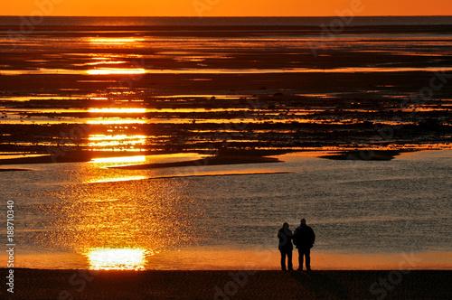 Staande foto Noordzee Sonnenuntergang an der Nordsee