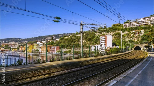 Wall mural Gare de Villefranche sur mer France French Riviera