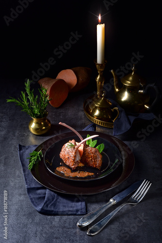 Foto Murales Lamb steaks with rosemary sweet potatoes