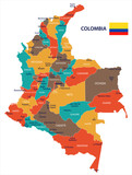 Colombia - map and flag Detailed Vector Illustration - 188721545