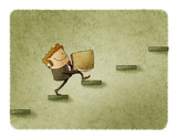 businessman with a box is climbing a few steps. concept of rise to success