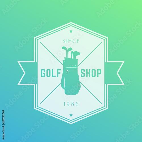 Golf shop emblem, vector logo, badge
