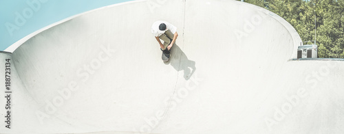 Aluminium Skateboard Skater training in skate park - Young man riding skateboard in urban contest - Extreme sport and youth trendy lifestyle