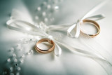 two golden wedding rings. wedding background concept