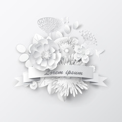 Paper art flowers background. Paper cut. Vector stock.