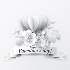 Paper art floral background. Valentine's day greeting. Vector stock.