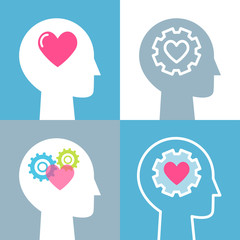Emotional Intelligence, Feeling and Mental Health Concept Vector Illustrations Set © juliabatsheva
