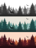 Vector vintage forest landscape with silhouettes of trees and wild animals - three color variants