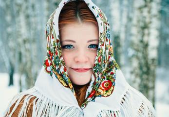 girl in Slavic style. a girl in a scarf