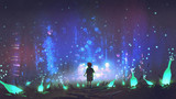 night scenery of boy walking on the floor among many glowing green bottles, digital art style, illustration painting - 188747589