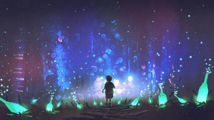 night scenery of boy walking on the floor among many glowing green bottles, digital art style, illustration painting © grandfailure