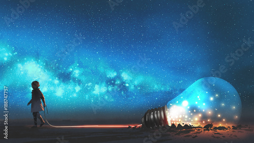 boy pulled the big bulb half buried in the ground against night sky with stars and space dust, digital art style, illustraation painting
