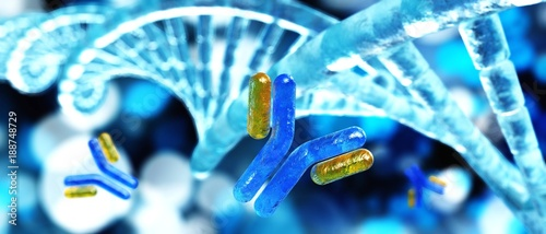 antibody and DNA helix, 3D rendering