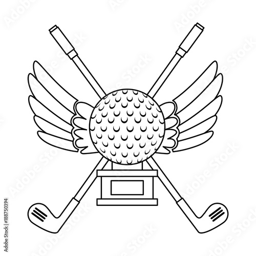 Papiers peints Cartoon draw golf ball with wings championship award icon vector illustration design