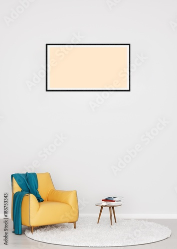 Cozy Scandinavian style interior with armchair, books, painting frame and rug on white wall background. 3D illustration