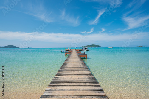 Fotobehang Thailand Wooden pier with boat in Phuket, Thailand. Summer, Travel, Vacation and Holiday concept.