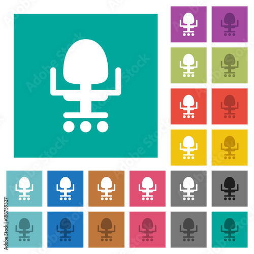 Office chair square flat multi colored icons