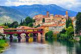 Bassano del Grappa Old Town and Ponte degli Alpini bridge, Italy - 188760568