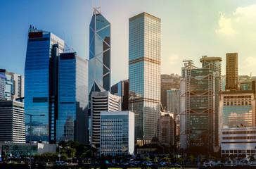 hong kong city view with sunlight