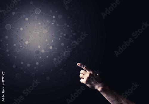 Foto Murales Concept digital connection on dark background