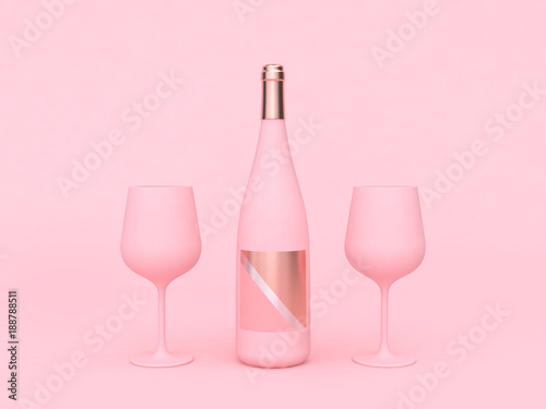 wine glass wine bottle pink abstract love valentine concept 3d rendering - 188788511