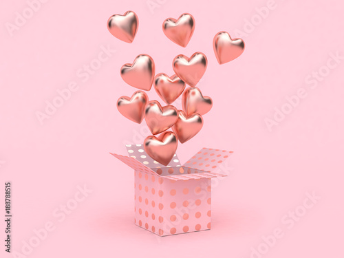 gift box balloon heart group floating love valentine concept 3d rendering