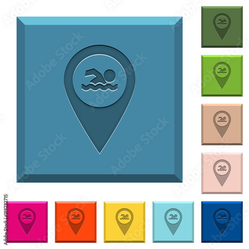 Swimming pool GPS map location engraved icons on edged square buttons