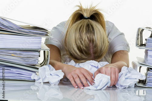 woman in the office with burnout - 188797510