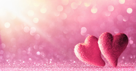 Valentine Card - Two Hearts On Shiny Background